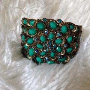 Peacock emerald gem stone bronze bracelet